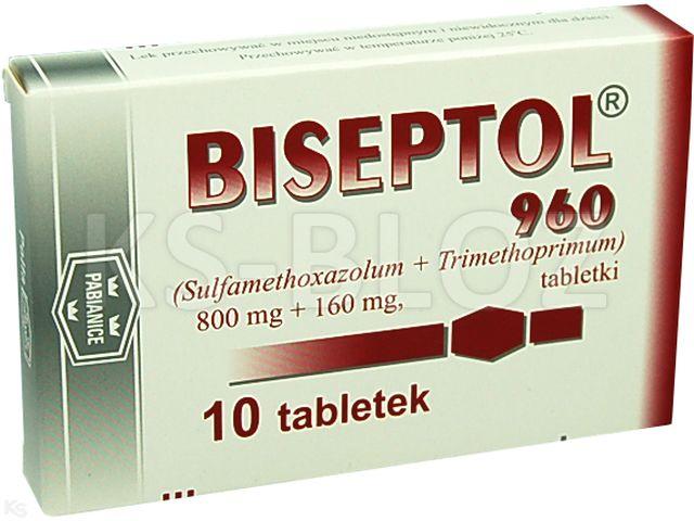Biseptol 960 interakcje ulotka tabletki 0,8g+0,16g 10 tabl.