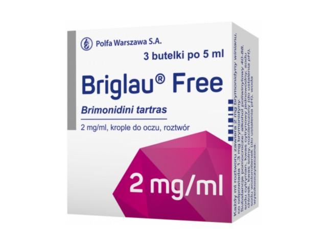 Briglau Free interakcje ulotka krople do oczu, roztwór 2 mg/ml 3 but. po 5 ml