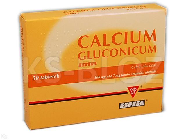 Calcium gluconicum Espefa interakcje ulotka tabletki 0,0447 g Ca2+ 50 tabl.