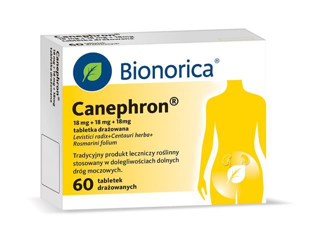 Canephron interakcje ulotka tabletki drażowane 0,018g+0,018g+0,018g 60 tabl.