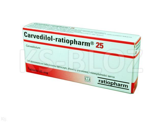 Carvedilol-ratiopharm 25 interakcje ulotka tabletki 0,025 g 30 tabl.