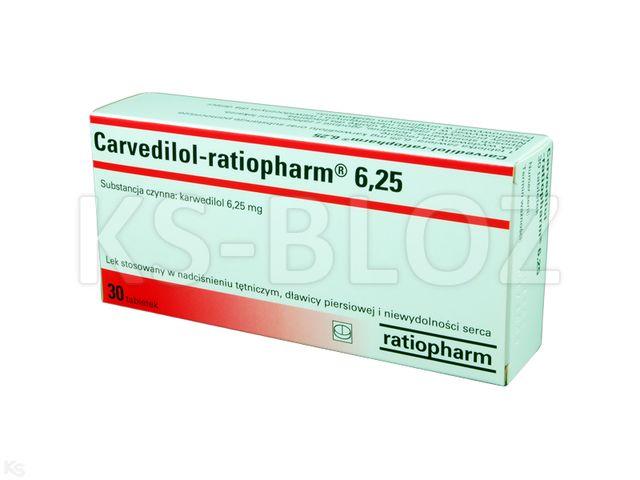 Carvedilol-ratiopharm 6,25 interakcje ulotka tabletki 6,25 mg 30 tabl.