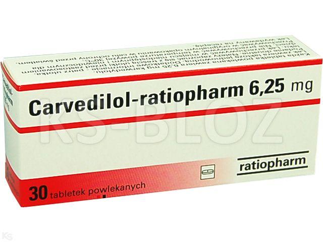 Carvedilol-ratiopharm interakcje ulotka tabletki powlekane 6,25 mg 30 tabl. | 3 blist.po 10 szt.