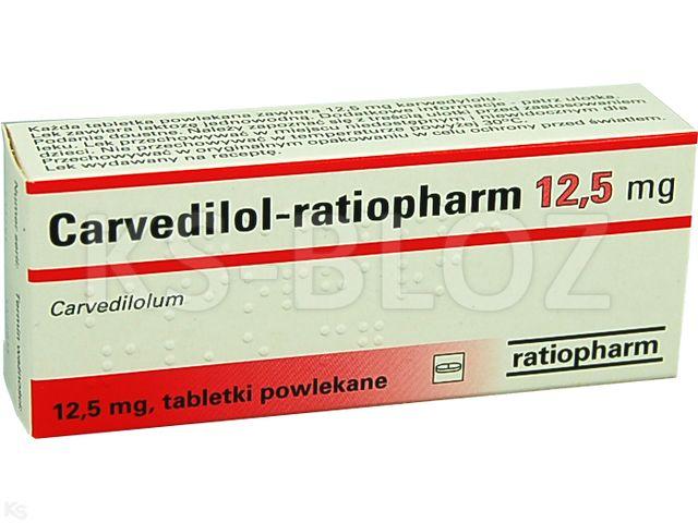 Carvedilol-ratiopharm interakcje ulotka tabletki powlekane 0,0125 g 30 tabl.