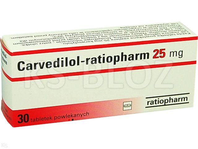 Carvedilol-ratiopharm interakcje ulotka tabletki powlekane 0,025 g 30 tabl.