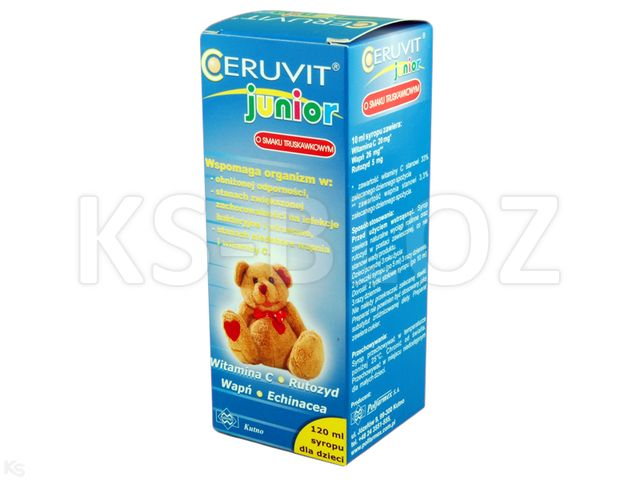 Ceruvit Junior sm.truskawkowy interakcje ulotka syrop  120 ml
