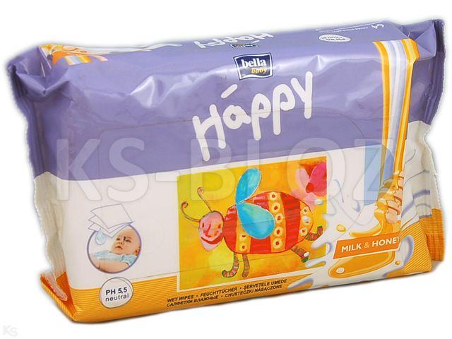 Chust.nasącz. BELLA BABY HAPPY x64 mleko/miód interakcje ulotka   1 op.