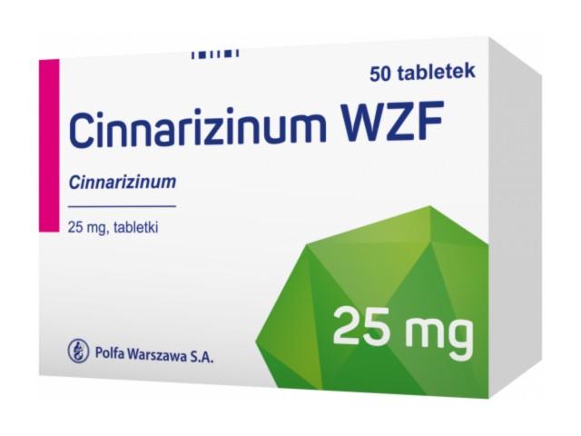 Cinnarizinum WZF interakcje ulotka tabletki 0,025 g 50 tabl.