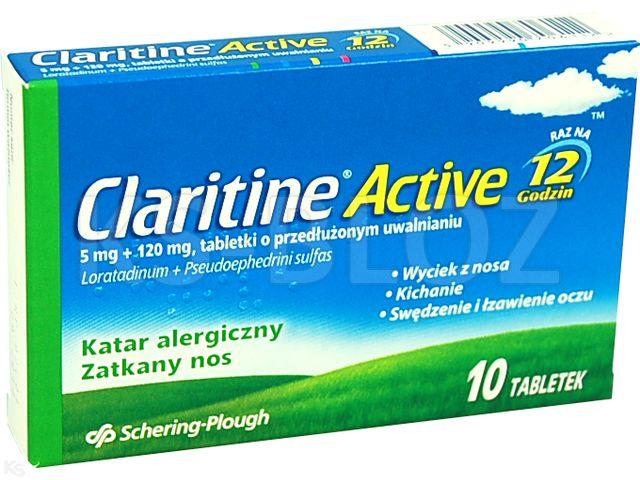 Claritine Active interakcje ulotka tabletki o przedłużonym uwalnianiu 5mg+0,12g 10 tabl.