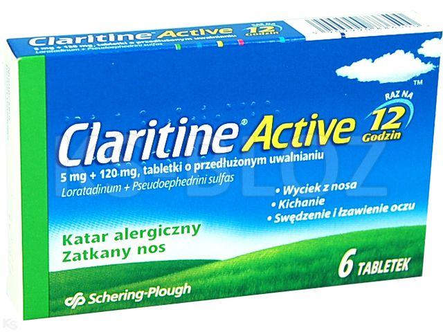Claritine Active interakcje ulotka tabletki o przedłużonym uwalnianiu 5mg+0,12g 6 tabl. | 1 blist.po 6 szt.