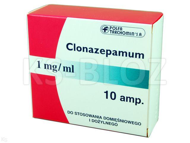 Clonazepamum TZF interakcje ulotka roztwór do wstrzykiwań 1 mg/ml 10 amp. po 1 ml