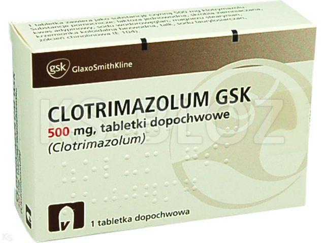 Clotrimazolum GSK interakcje ulotka tabletki dopochwowe 0,5 g 1 tabl.
