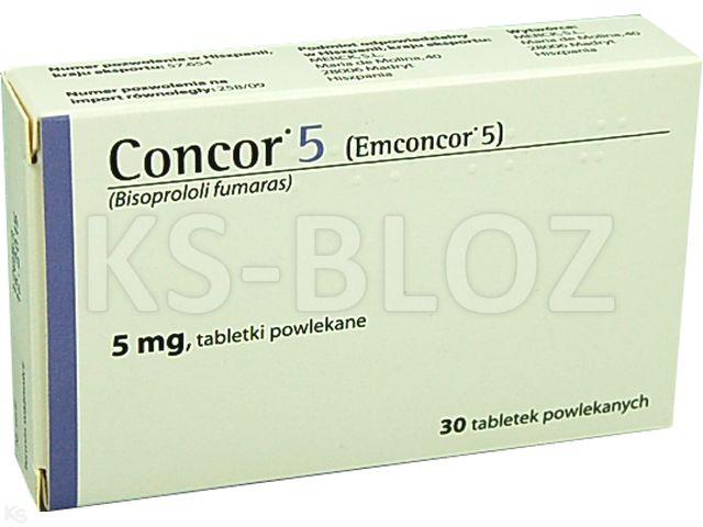 Concor 5 interakcje ulotka tabletki powlekane 5 mg 30 tabl.