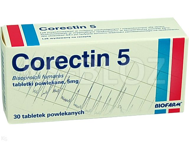 Corectin 5 interakcje ulotka tabletki powlekane 5 mg 30 tabl.   3 blist.po 10 szt.