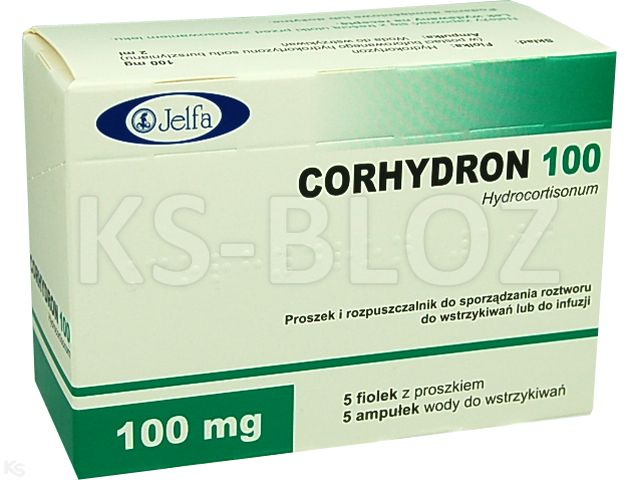 Corhydron 100 interakcje ulotka proszek i rozpuszczalnik do sporządzania roztworu do wstrzykiwań/infuzji 0,1 g 5 fiol.