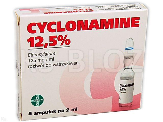 Cyclonamine 12,5% interakcje ulotka roztwór do wstrzykiwań 0,125 g/ml 5 amp. po 2 ml
