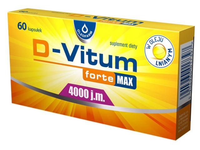 D-Vitum Forte Max 4000 j.m. interakcje ulotka kapsułki  60 kaps.