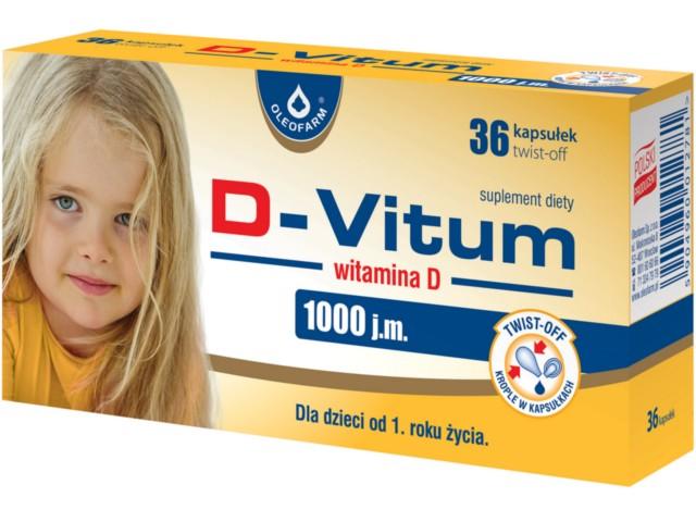 D-Vitum witamina D 1000 j.m. interakcje ulotka kapsułki twist-off  36 kaps.