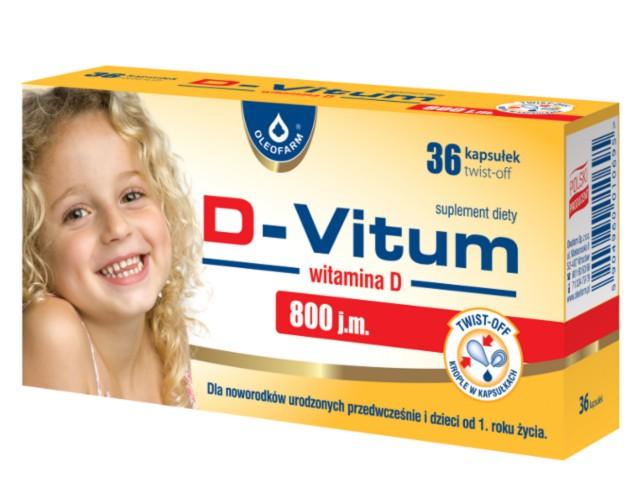 D-Vitum witamina D 800 j.m. interakcje ulotka kapsułki twist-off  36 kaps.