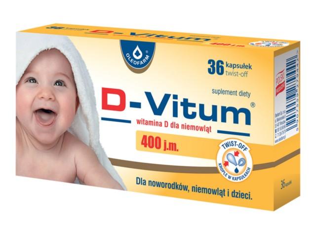 D-Vitum witamina D dla niemowląt 400 j.m. interakcje ulotka kapsułki twist-off  36 kaps.