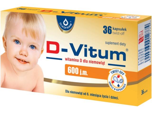 D-Vitum witamina D dla niemowląt 600 j.m. interakcje ulotka kapsułki twist-off  36 kaps.