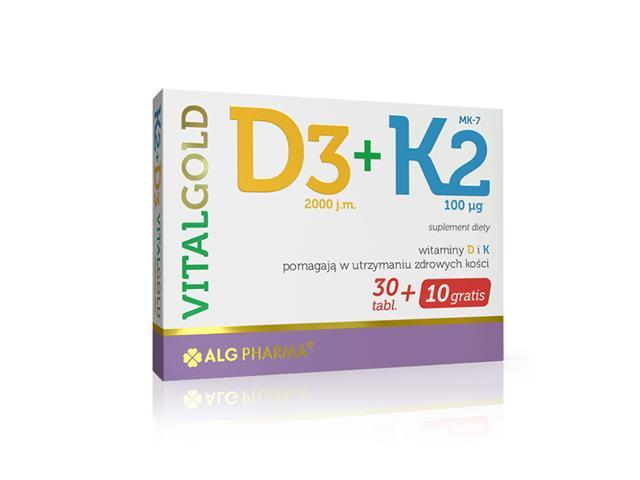 D3+K2 Vitalgold interakcje ulotka tabletki  40 tabl.