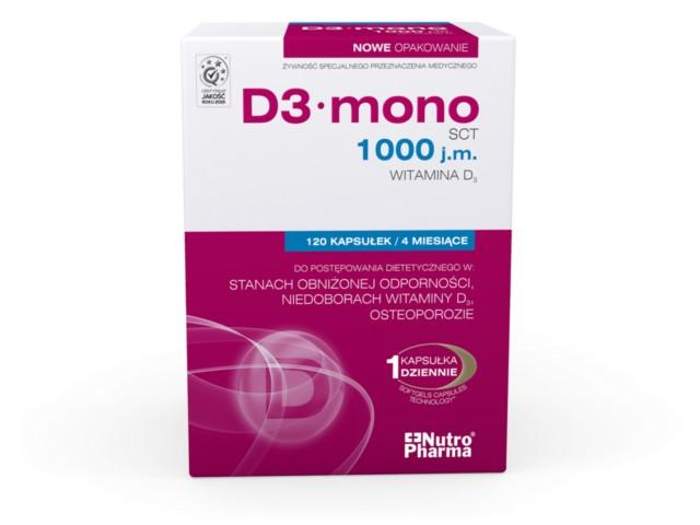 D3 Mono 1000 j.m. interakcje ulotka kapsułki  120 kaps.
