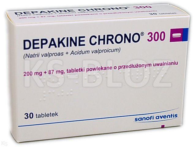 Depakine Chrono 300 interakcje ulotka tabletki powlekane o przedłużonym uwalnianiu 0,2g+0,087g 30 tabl.