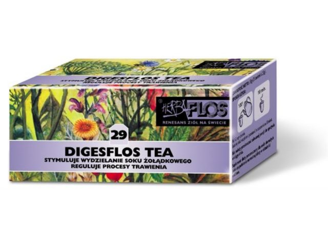 Digesflos Tea interakcje ulotka zioła do zaparzania w saszetkach 2 g 25 toreb. po 2 g