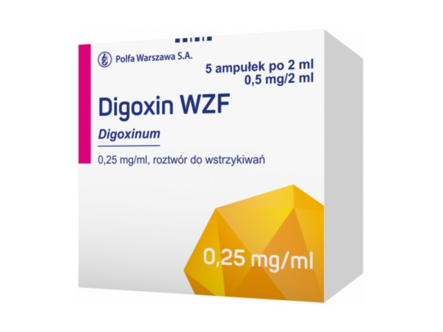 Digoxin WZF interakcje ulotka roztwór do wstrzykiwań 0,25 mg/ml 5 amp. po 2 ml