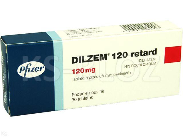 Dilzem 120 retard interakcje ulotka tabletki o przedłużonym uwalnianiu 0,12 g 30 tabl.