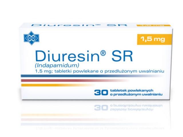 Diuresin SR interakcje ulotka tabletki powlekane o przedłużonym uwalnianiu 1,5 mg 30 tabl.