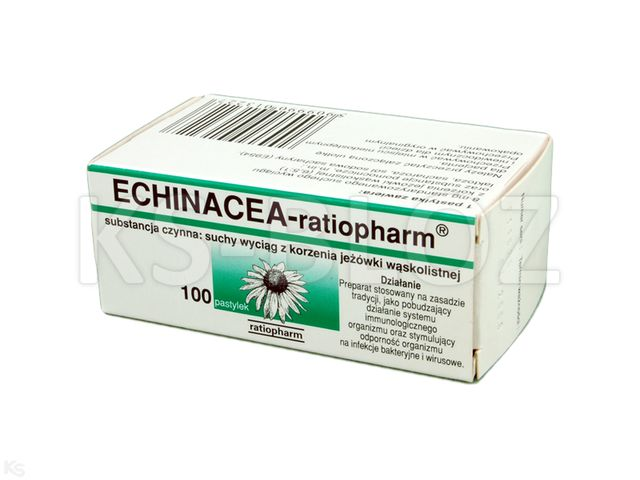Echinacea Ratiopharm interakcje ulotka pastylki do ssania 8 mg 100 pastyl.