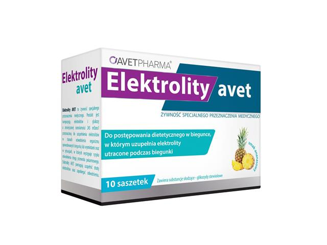 Elektrolity AVET interakcje ulotka   10 sasz.