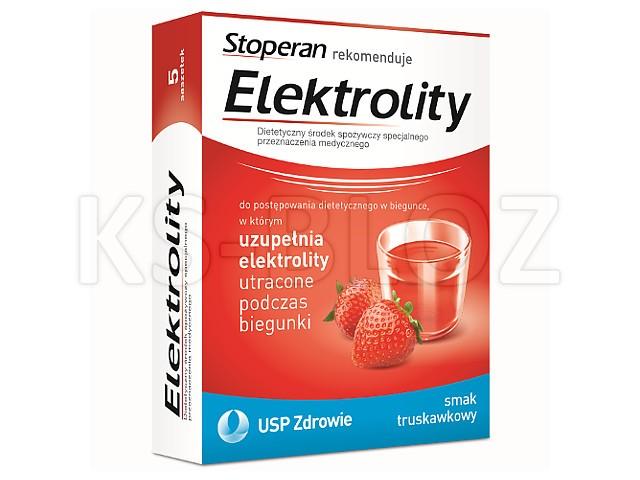 Elektrolity smak truskawkowy interakcje ulotka   5 sasz.