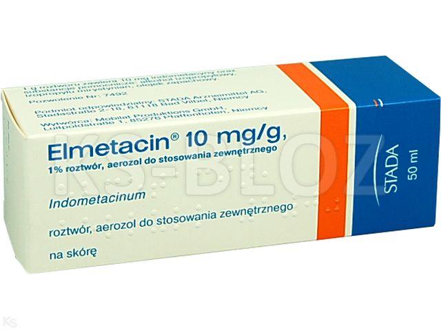 Elmetacin interakcje ulotka aerozol do stosowania zewnętrznego, roztwór 0,01 g/g 50 ml