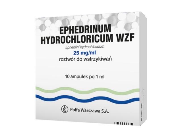 Ephedrinum hydrochl. WZF interakcje ulotka roztwór do wstrzykiwań 0,025 g/ml 10 amp. po 1 ml