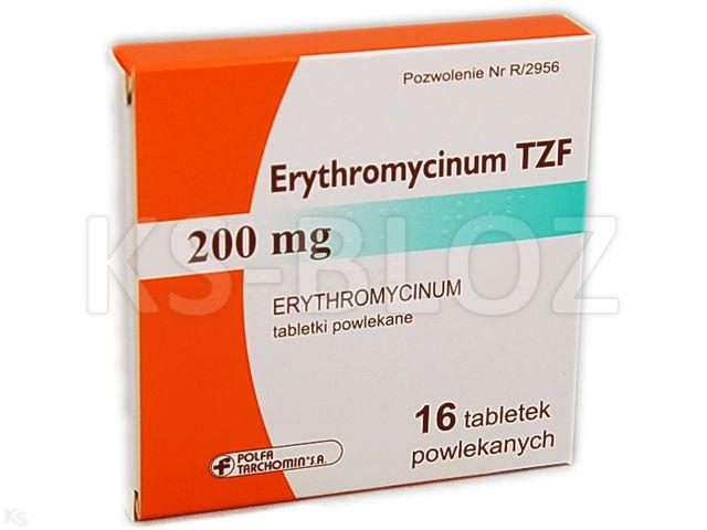 Erythromycinum TZF interakcje ulotka tabletki powlekane 0,2 g 16 tabl.
