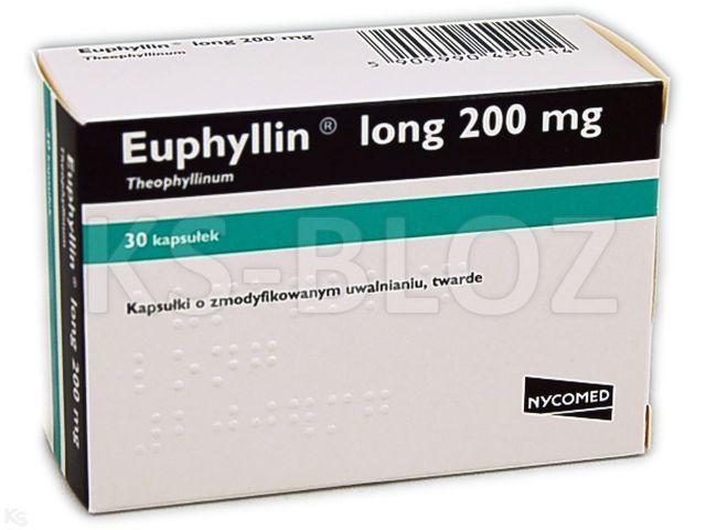 Euphyllin Long interakcje ulotka kapsułki o zmodyfikowanym uwalnianiu 0,2 g 30 kaps.