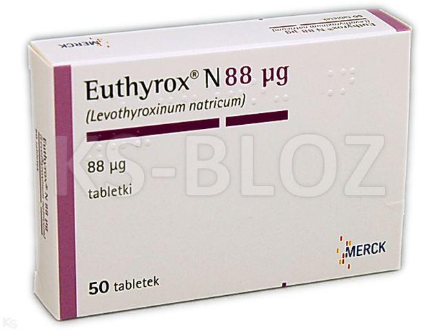 Euthyrox N 88 mcg interakcje ulotka tabletki 0,088 mg 50 tabl.