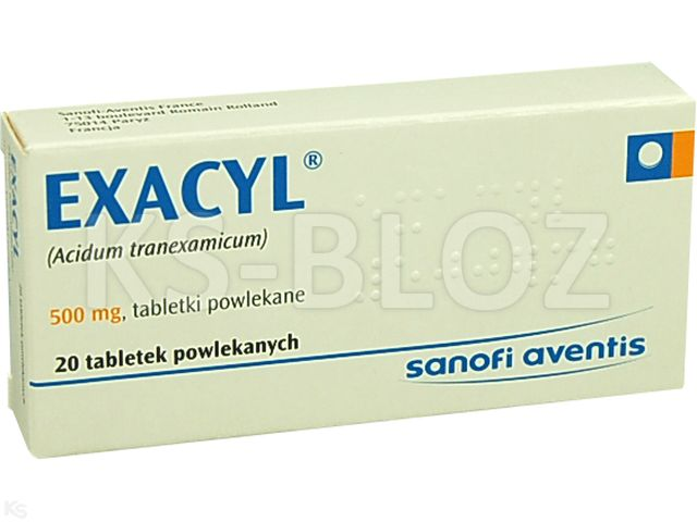 Exacyl interakcje ulotka tabletki powlekane 0,5 g 20 tabl.