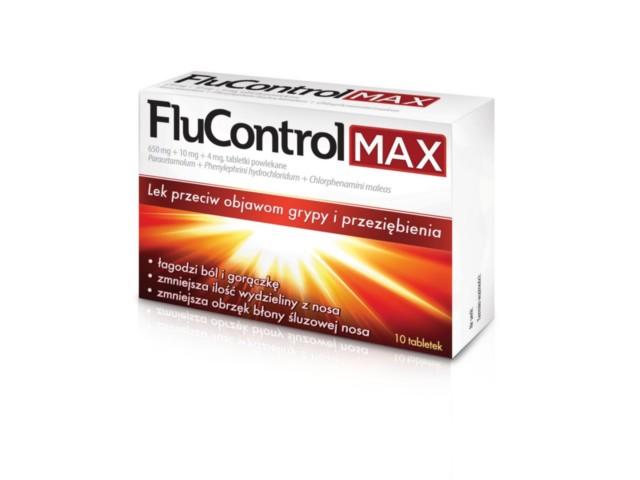 Flucontrol Max interakcje ulotka tabletki powlekane 0,65g+0,01g+4mg 10 tabl.