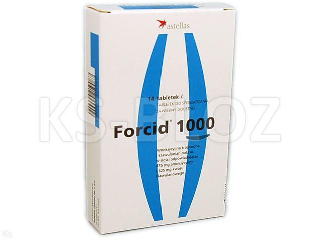 Forcid 1000 interakcje ulotka tabletki do sporządzania zawiesiny doustnej 0,875g+0,125g 14 tabl.