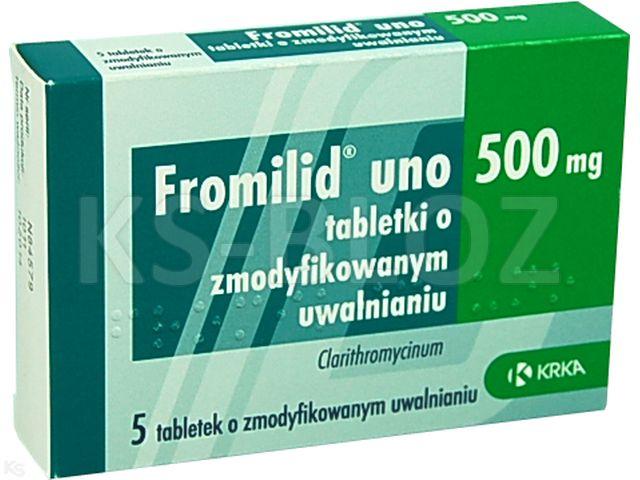 Fromilid Uno interakcje ulotka tabletki o zmodyfikowanym uwalnianiu 0,5 g 5 tabl.