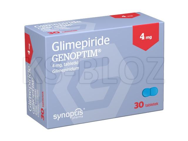 Glimepiride Genoptim interakcje ulotka tabletki 4 mg 30 tabl.