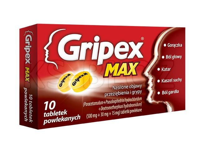 Gripex Max interakcje ulotka tabletki powlekane 0,5g+0,03g+0,015g 10 tabl.