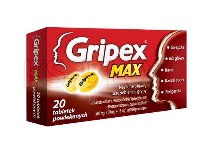 Gripex Max interakcje ulotka tabletki powlekane 0,5g+0,03g+0,015g 20 tabl.