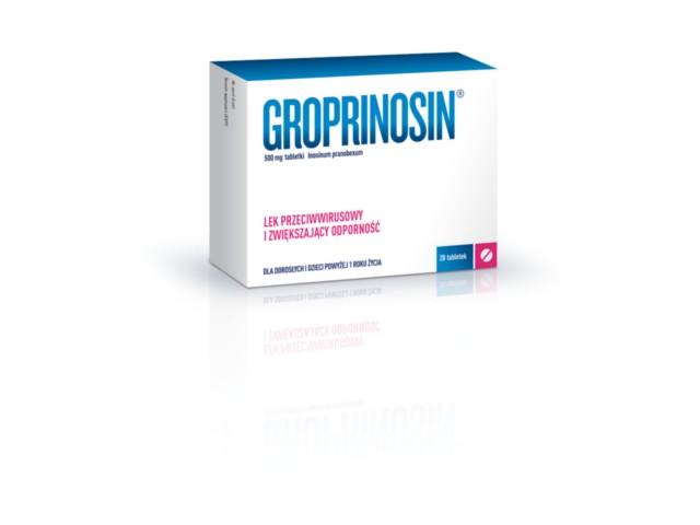 Groprinosin interakcje ulotka tabletki 0,5 g 20 tabl.
