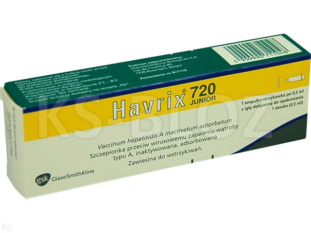 Havrix 720 Junior interakcje ulotka zawiesina do wstrzykiwań 720 j. Elisa 1 amp.-strz. po 0,5 ml