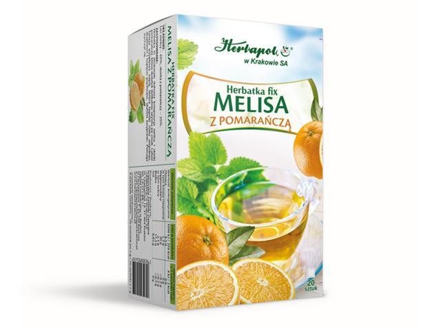 Herbatka fix MELISA Z POMARAŃCZĄ interakcje ulotka  2 g 20 toreb.